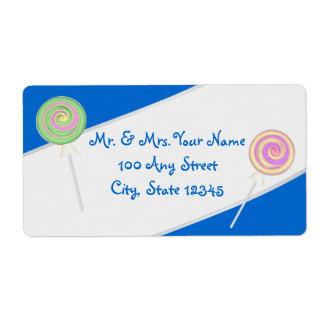 Lollipop Candy Treasures Blue Address Label