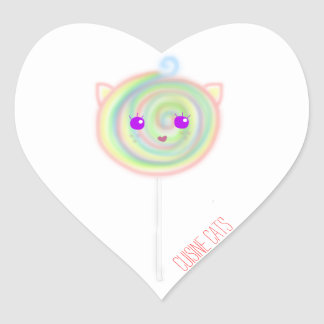 Lollipop Cat Heart Sticker