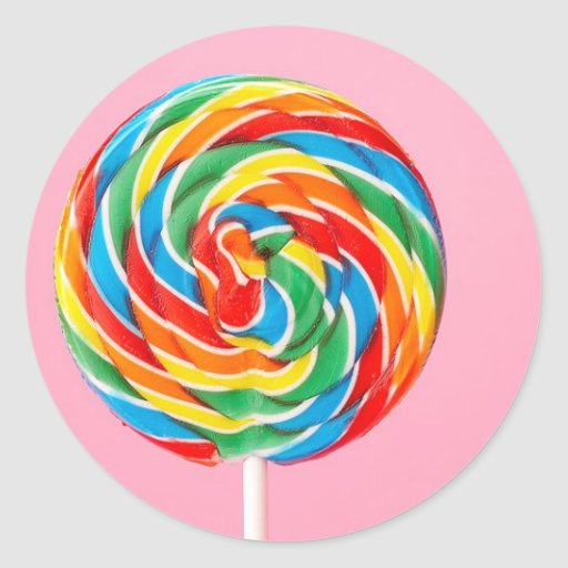 Lollipop del arco iris etiquetas redondas