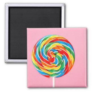 Lollipop del arco iris imán cuadrado