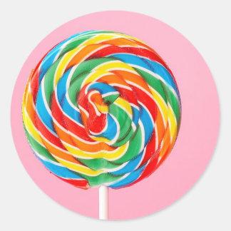 Lollipop del arco iris pegatina redonda