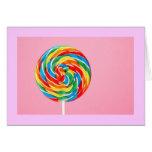 Lollipop del arco iris tarjeton