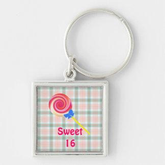 Lollipop del remolino del dulce 16 llavero cuadrado plateado