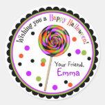 Lollipop del truco o de la invitación del caramelo pegatinas redondas