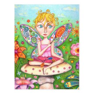 Lollipop Fairy Postcard - Cute Faery Faerie Art