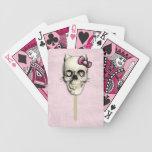 Lollipop femenino del cráneo del gato baraja cartas de poker