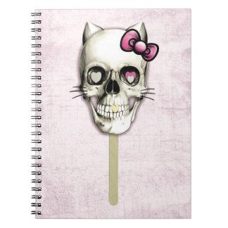 Lollipop femenino del cráneo del gato cuadernos
