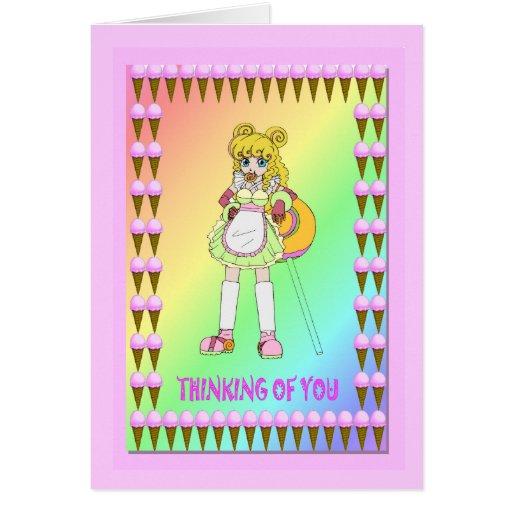 Lollipop girl greeting card