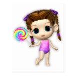 Lollipop Girl Cutie Postcard