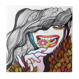 Lollipop Girl Portrait Ceramic Tile