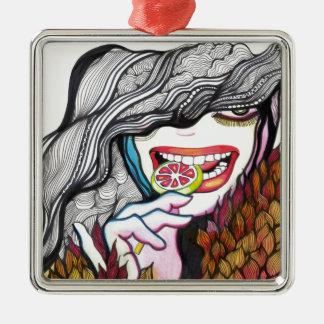 Lollipop Girl Portrait Metal Ornament