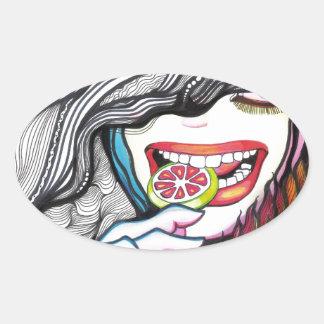 Lollipop Girl Portrait Oval Sticker