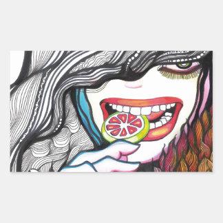 Lollipop Girl Portrait Rectangular Sticker
