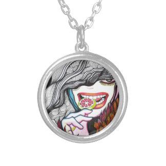 Lollipop Girl Portrait Round Pendant Necklace