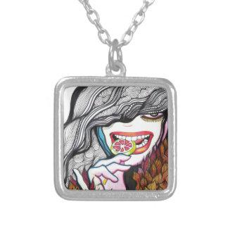 Lollipop Girl Portrait Silver Plated Necklace