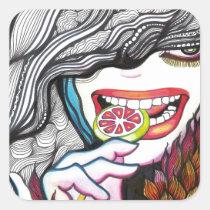 cool, artsprojekt, smile, teeth, sweet, dark, jocker, happy, lollipop, girl, ink, drawing, patricia, vidour, creative, artistic, illustration, people, woman, face, bird, gothic, macabre, sweets, portrait, illustrations, grownup, female, person, valediction, aquatic, young, wish, enjoy, teen, Sticker with custom graphic design