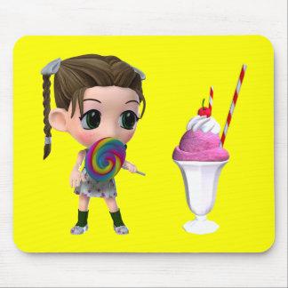 Lollipop Girl Strawberry Ice cream Sundae Mouse Pad