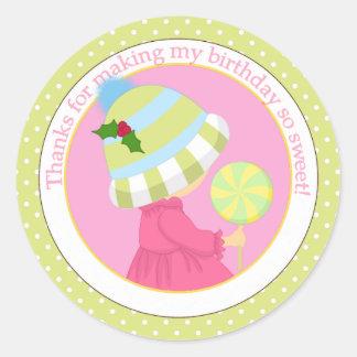 Lollipop Girl Winter Birthday Thank You Classic Round Sticker