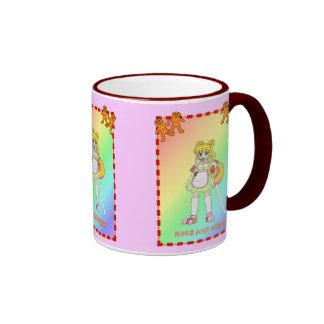 Lollipop girl with gingerbread men coffee mug