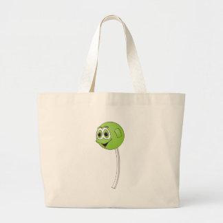 Lollipop Green Apple Cartoon Large Tote Bag