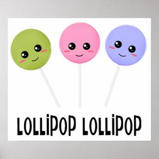 Lollipop Green Pink Purple Kawaii Style Poster