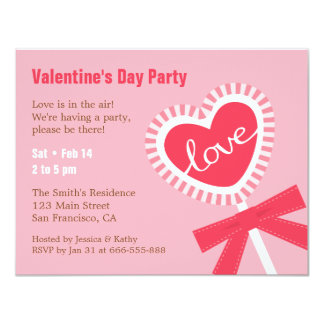 Lollipop Heart Candy Valentines Party Invitations