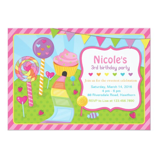 Lollipop Invitation Candyland Invitation Zazzlecom