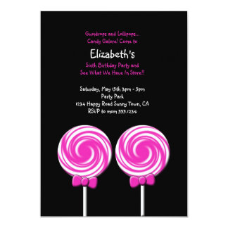 Lollipop Invitation or Thank You Card