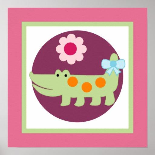 Lollipop Jungle Alligator Girl Poster Wall Art