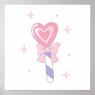 Lollipop lindo del corazón posters