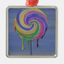 lollipop, candy, sugar, fueled, sugarfueled, michael, banks, coallus, rainbow, color, Ornament with custom graphic design