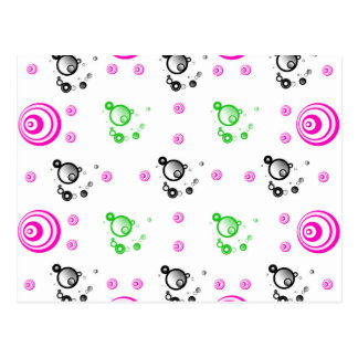Lollipop pink,black and green circles postcard