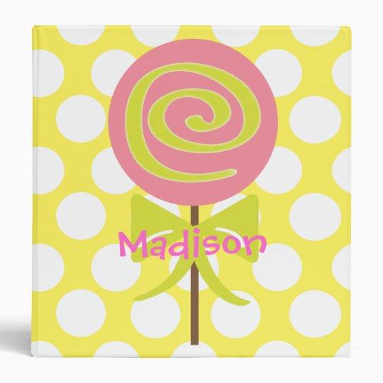 Lollipop Polka Dot Personalized Binder