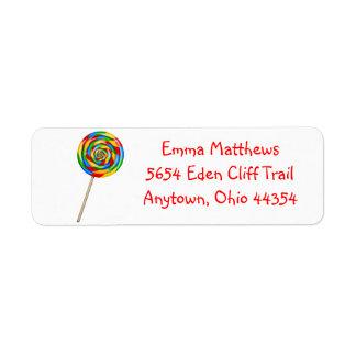 Lollipop Return Address Labels- Primary Colors Label