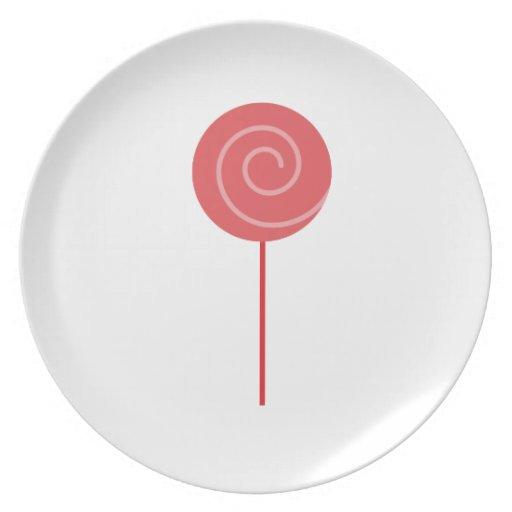 Lollipop rojo plato de comida