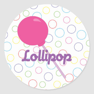 Lollipop rosado brillante pegatina redonda