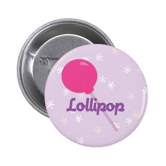 Lollipop rosado brillante pin redondo de 2 pulgadas