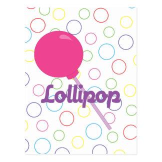 Lollipop rosado brillante postal