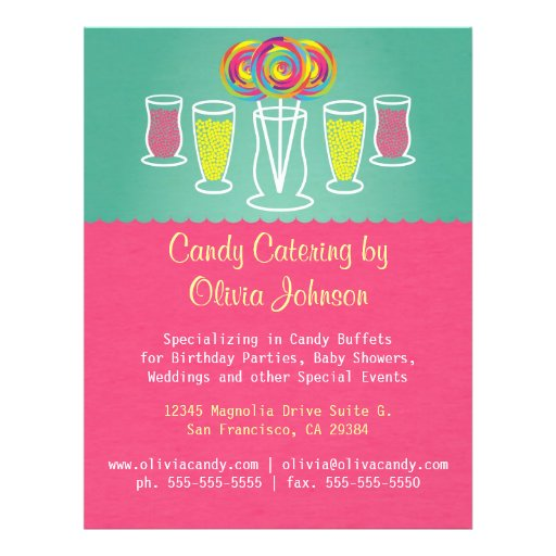 Lollipop Style Candy Catering Business Flyer | Zazzle