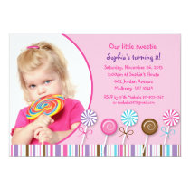 Lollipop Sweet Shop Girls Birthday Invitations