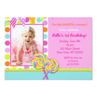 Lollipop Sweet Shoppe Birthday Party Invitation