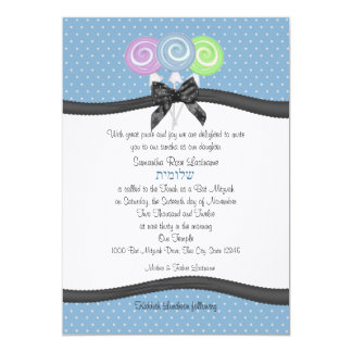 Lollipops and Polka Dots 5x7 Party Personalized Invite