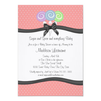 Lollipops and Polka Dots Baby Shower Custom Announcements