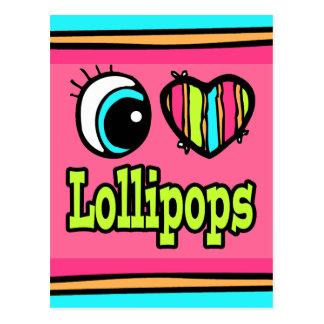 Lollipops brillantes del amor del corazón I del Tarjetas Postales