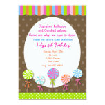 Lollipops Candy Shoppe Birthday invitation