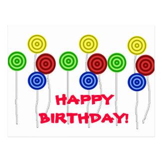 Lollipops del feliz cumpleaños postales