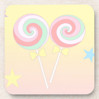 Lollipops en colores pastel posavasos de bebidas
