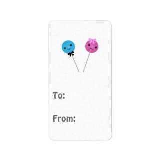 Lollipops lindos etiquetas de dirección