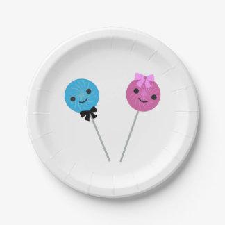 Lollipops lindos plato de papel de 7 pulgadas