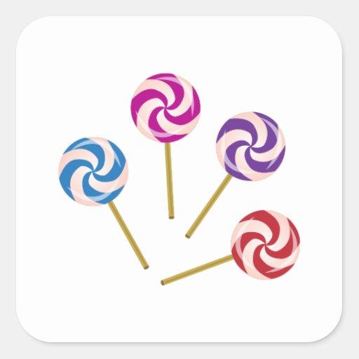 Lollipops Calcomanía Cuadradas Personalizada